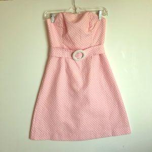 LILLY PULITZER Strapless Pink Polka-Dot DRESS 0